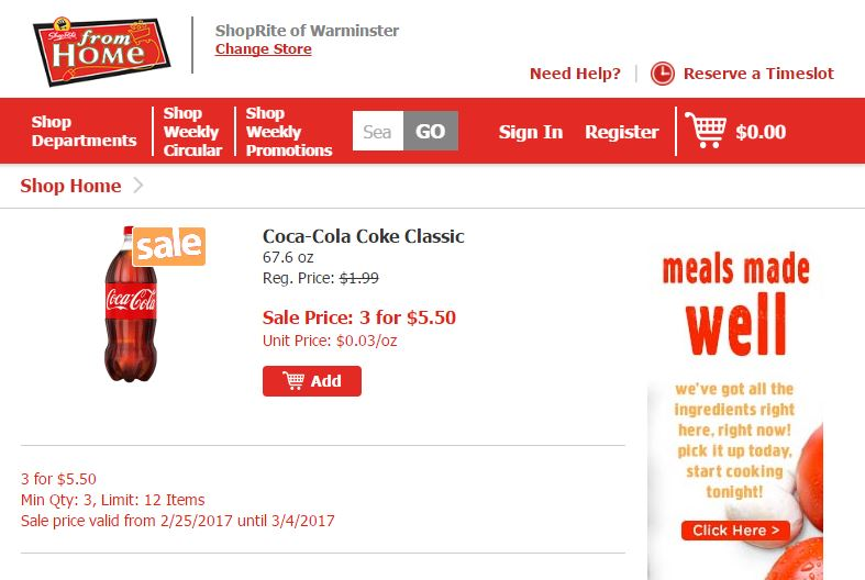 Regular price of $1.99 per 2-liter Coca-Cola at ShopRite of Warminster, Pennsylvania, Sale price of $5.50 for 3 (unit price of $1.83)