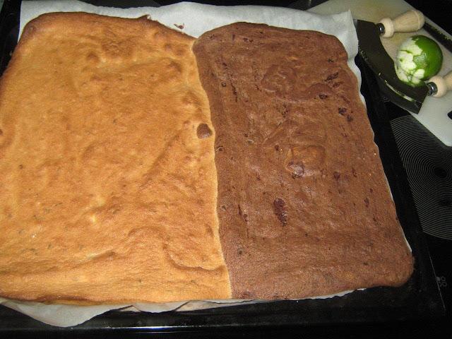világos (lime-s) és  sötét ( csokoládés) piskóta