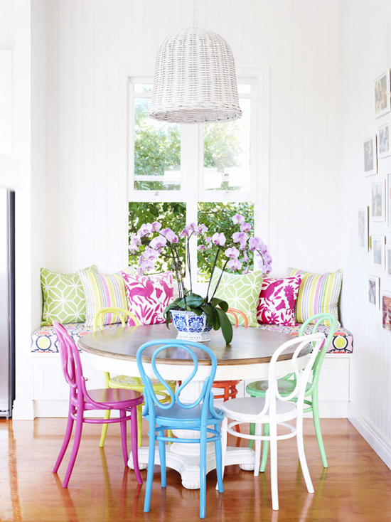 Colorful dining room in the home of Helen and Chris Bayley via The Design Files