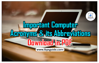 List of Important Computer Acronyms and its Abbreviations for NICL and IBPS Exams 2017- Download in PDF