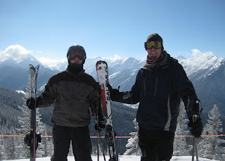 Craig and Noah at Sundeck on the top of Aspen Mountain.