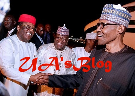 BREAKING: Buhari Meets Atiku, 5 Governors Behind Closed Door In Aso Rock
