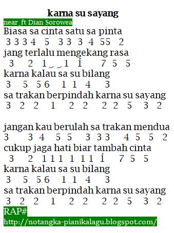 Not Angka Lagu Karna Su Sayang Near Feat Dian Sorowea
