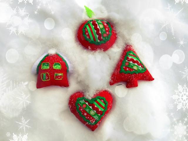 новогодние игрушки на елку из ткани