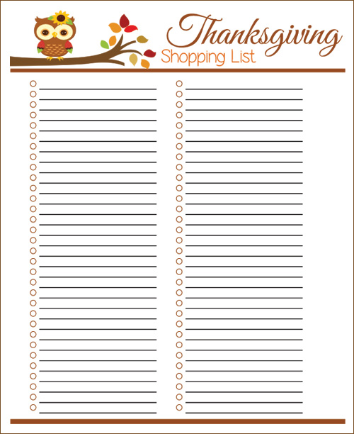 My Owl Barn: Printable Thanksgiving Menu Planner