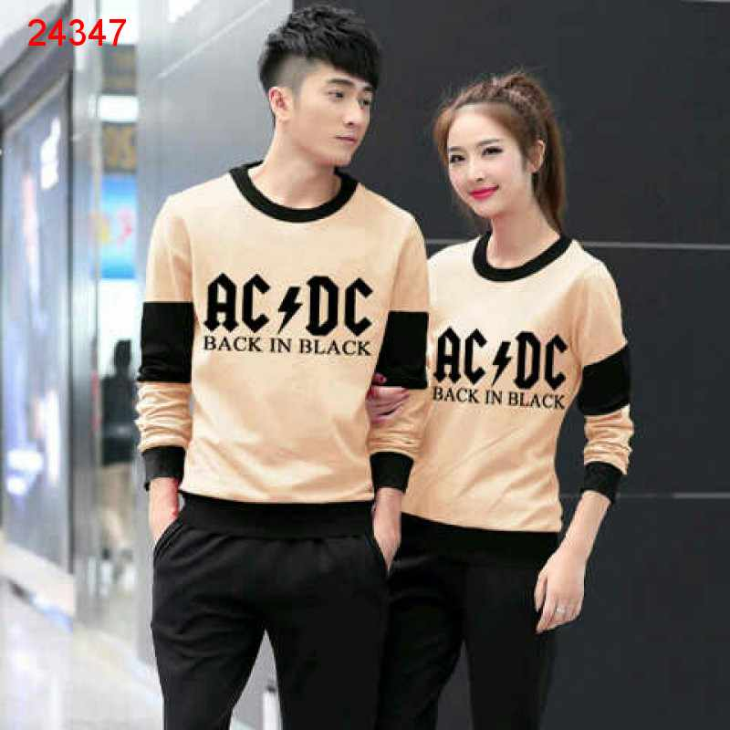 Jual Couple Lengan Panjang LP ACDC Cream - 24347