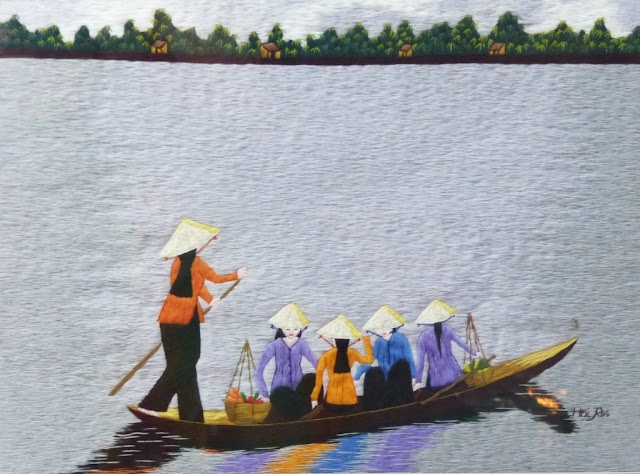 Silk embroidered picture from Vietnam