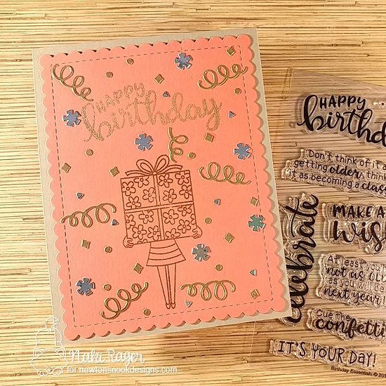 Birthday card by Naki Rager | Holding Happiness and Birthday Essentials Sentiment Stamp Sets by Newton's Nook Designs #newtonsnook #handmade