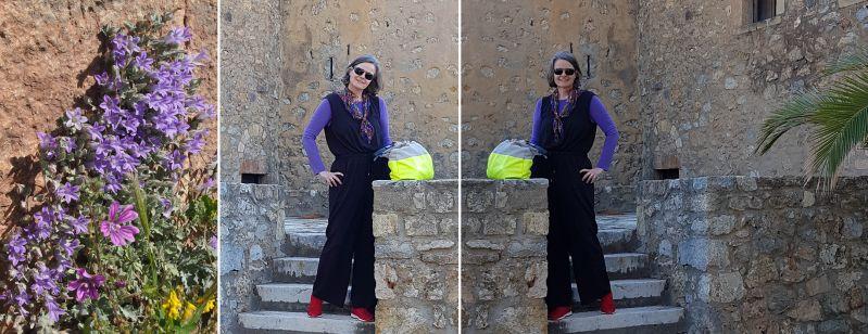 Schwarzer Overall mit lila Shirt und limettengelben bzw. roten Akzenten