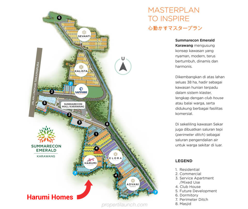 Master plan Summarecon Emerland Karawang - Harumi Homes