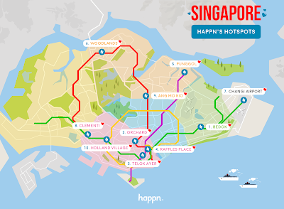 Source: Happn. The top 10 Happn hotspots on the Singapore map.