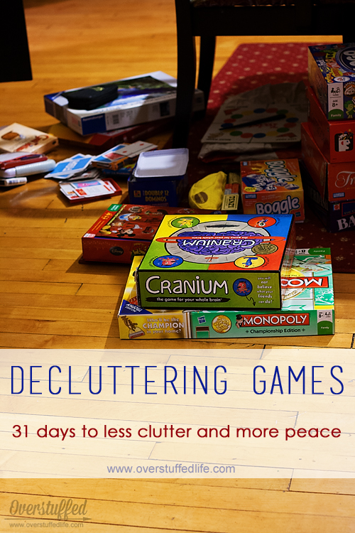 Don't let your board games and puzzles build up and contribute to the clutter problem!