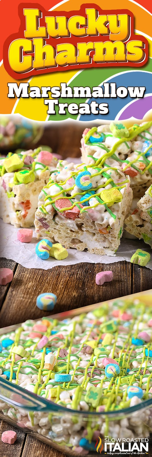 Lucky Charms Marshmallow Treats are a fantastic St. Patrick's Day (or any day) confection!!! This simple recipe is only 4 ingredients and its bursting with charms. This easy dessert is loaded with ooey gooey marshmallows to give it the perfect chewy bite. These cereal treats are magically delicious!   This is the perfect treat to take to school, work and a potluck too!