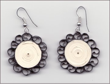 Circle model Trendy  Flower Quilling Paper Earrings For Kids - Quillingpaperdesigns
