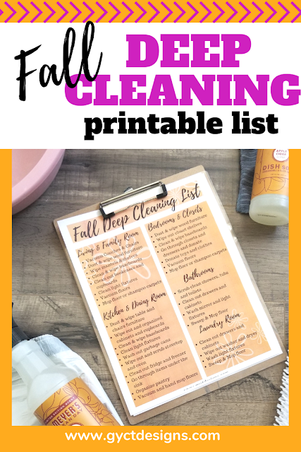 Simple tips for how to deep clean a house and a free fall deep cleaning checklist PDF printable
