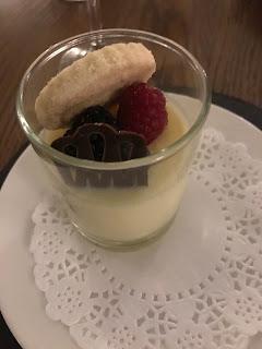 lemon posset with chocolat and fruit