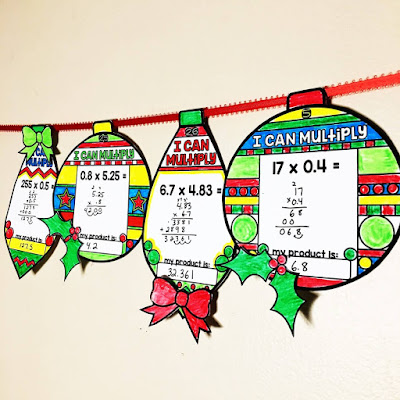 Multiplying Decimals Holiday Ornament Activity