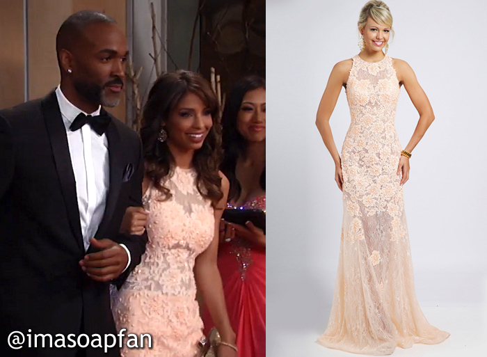 Valerie Spencer, Brytni Sarpy, Blush Pink Lace Gown at the Nurses Ball, GH, General Hospital, Season 54, Episode 05/24/16