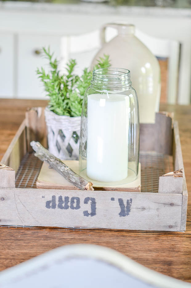 Dutch tulip crates are a unique tray to create a display in for your dining room table.