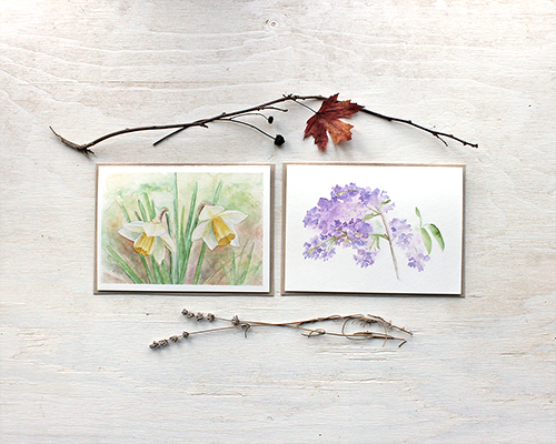 Nature collection, maple leaves and chickadee cards
