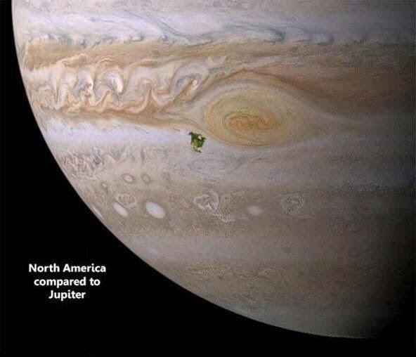 erbandingan Amerika Utara (Noda Hijau) di planet Jupiter