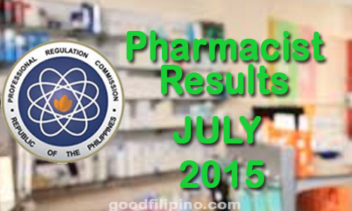 July 2015 Pharmacist PRC Board Exam Results - List of Passers (July 2015)