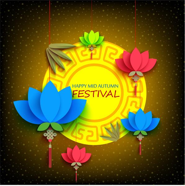 Happy mid autumn festival Free vector