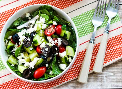 Spinach and Kale Salad with Greek Flavors and Feta-Lemon Vinaigrette found on KalynsKitchen.com