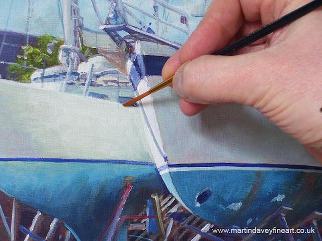 Hampshire Artist marine Davey yachts being repaired artwork