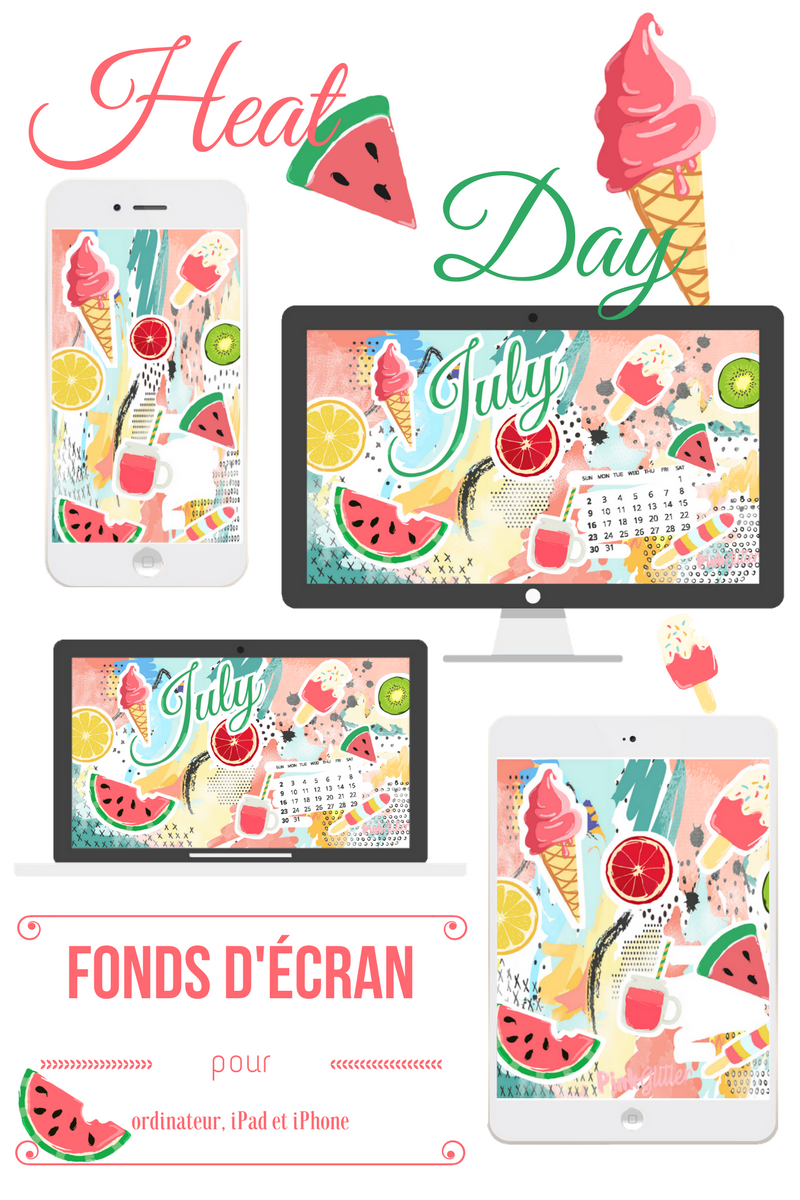Fond d'écran july juillet gratuit ordinateur ipad iphone smartphone ice cream watermelon