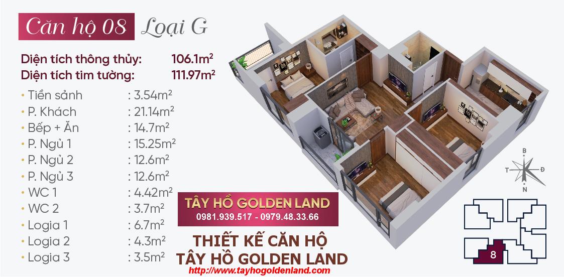 Hình ảnh Thiết kế căn hộ Tây Hồ Golden Land Căn 08 - Loại G