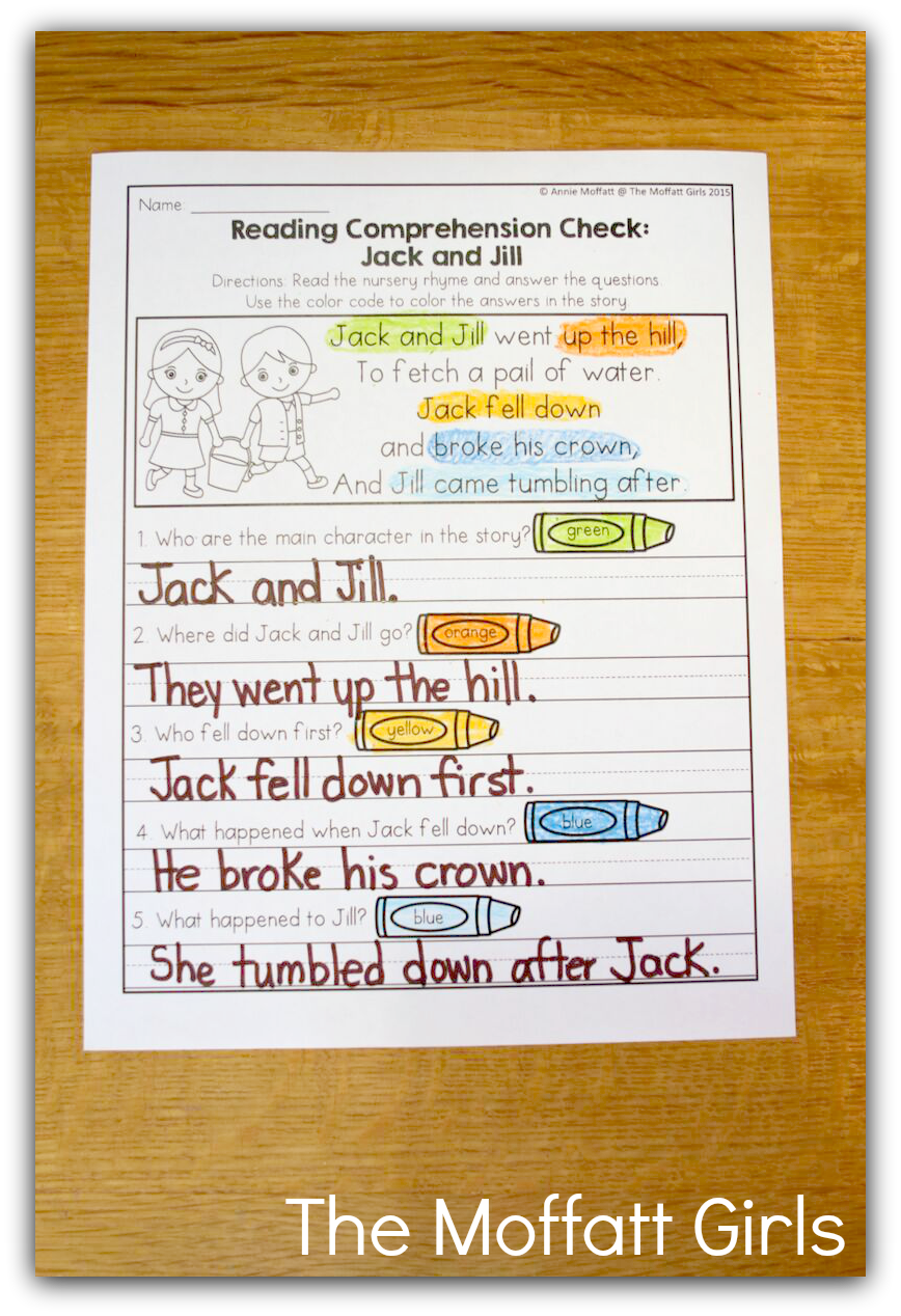 Teaching Word Work and Reading Comprehension through Nursery Rhymes!
