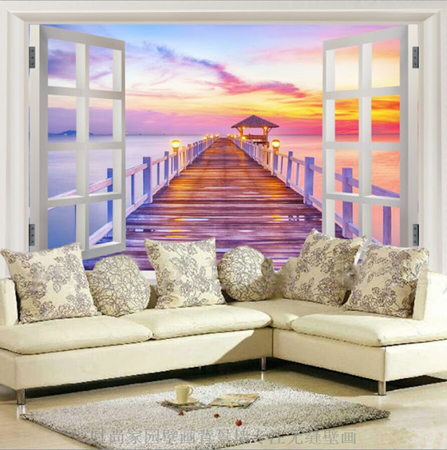 3d wall Murals wallpaper sea sunset Seaview Free Shipping Window Landscape wall murals Wallpaper Mural Bedroom Livingroom