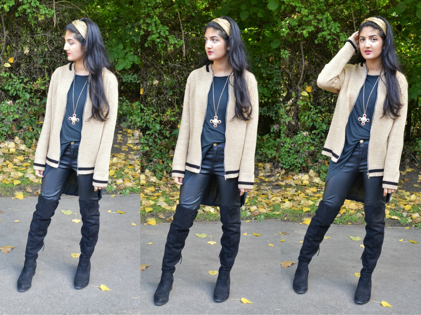 Outfit: A moody palette & tan metallics