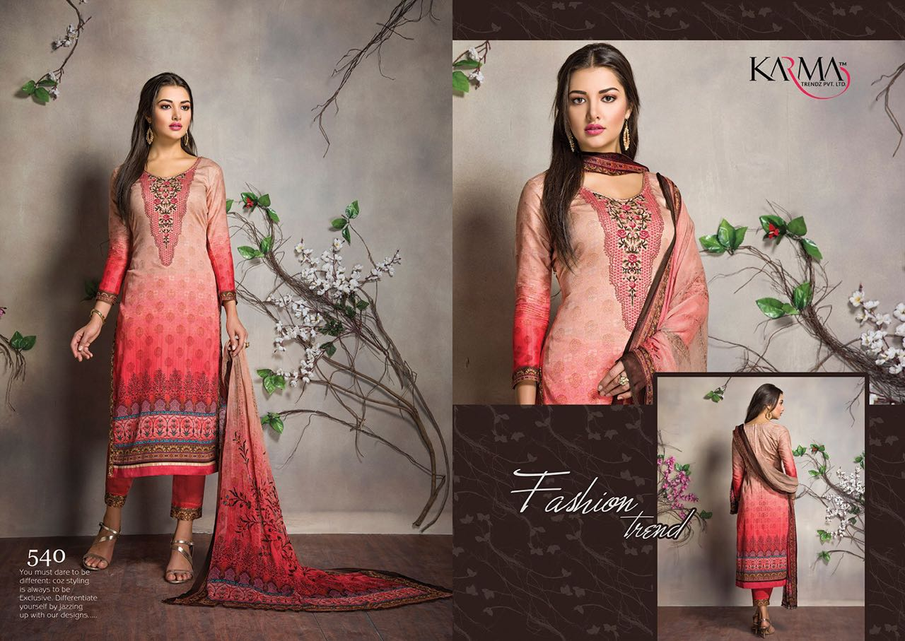 Karma 540-548 – Cotton Satin Digital Printed Salwar Suit