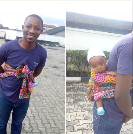 Funny Pics Of Man Backing His Baby To Bank In Port-Harcourt
