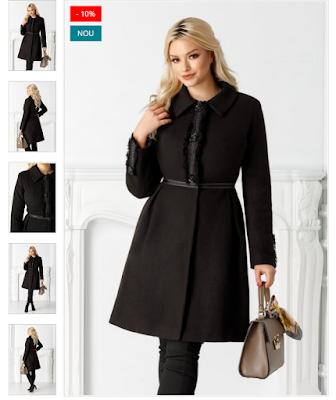 Palton dama calduros si elegant de iarna negru modern