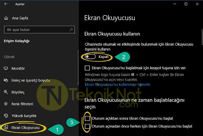 Windows Ekran Okuyucusu Kapatma