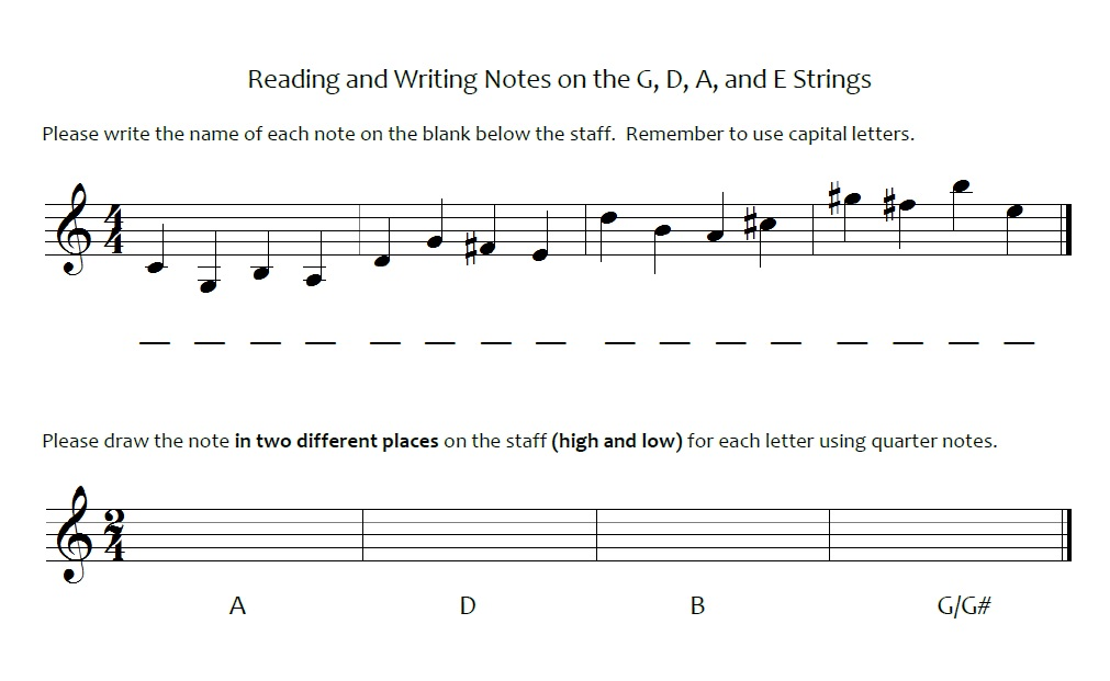 teaching elementary orchestra note reading quiz slo
