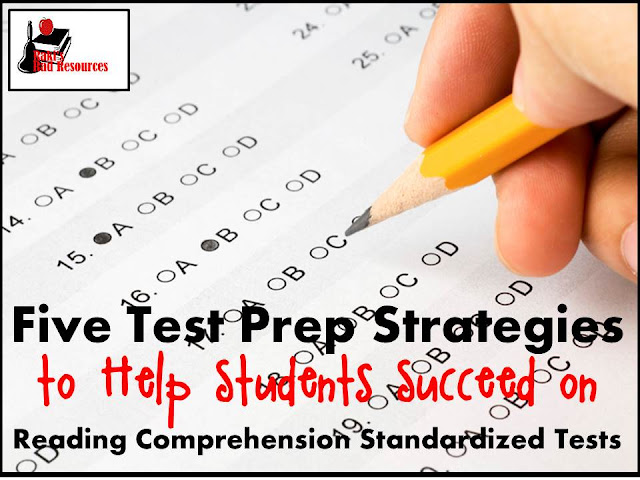 Five test prep strategies to help students succeed on reading comprehension standardized tests from Raki's Rad Resources
