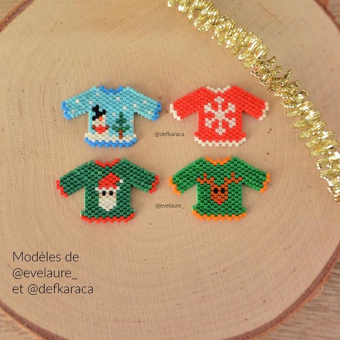 Pulls de Noël en Miyuki modèles de Evelaure et Defkaraca tissés en peyote et brickstitch par Hello c'est Marine