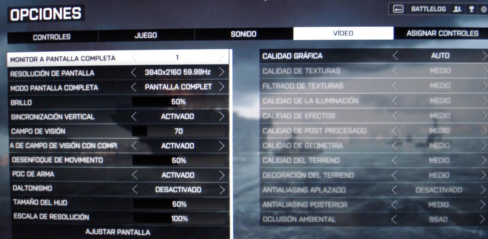 Battlefield 4 configuración a 4K calidad gráfica MEDIO
