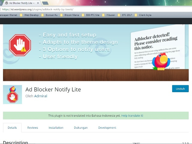 Halaman Plugin WordPress Ad Blocker Notify
