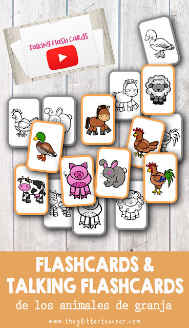 Tarjetas de vocabulario y Talking Flash cards de los animales de granja