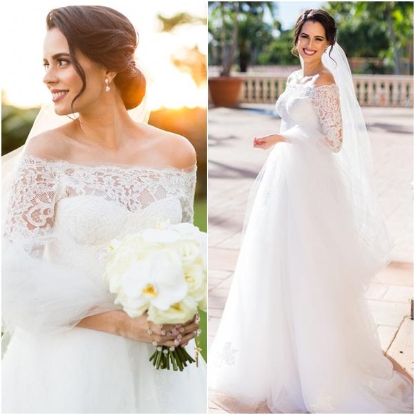 vestido de noiva decote ombro a ombro Angrila