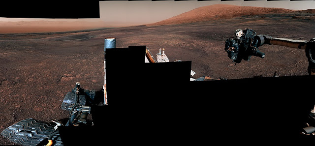 This panorama from the Mast Camera (Mastcam) on NASA's Curiosity Mars rover was taken on Dec. 19 (Sol 2265). The rover's last drill location on Vera Rubin Ridge is visible, as well as the clay region it will spend the next year exploring. Credits: NASA/JPL-Caltech/MSSS