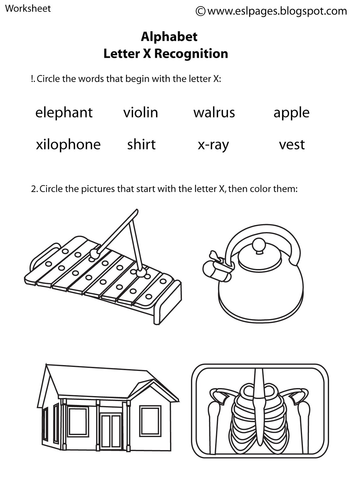 Esl Pages Alphabet Worksheets
