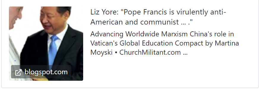 "Liz Yore: ""Pope Francis is virulently anti-American and communist ... ."""