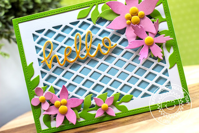 Sunny Studio Stamps: Botanical Backdrop Frilly Frames Hello Card by Eloise Blue