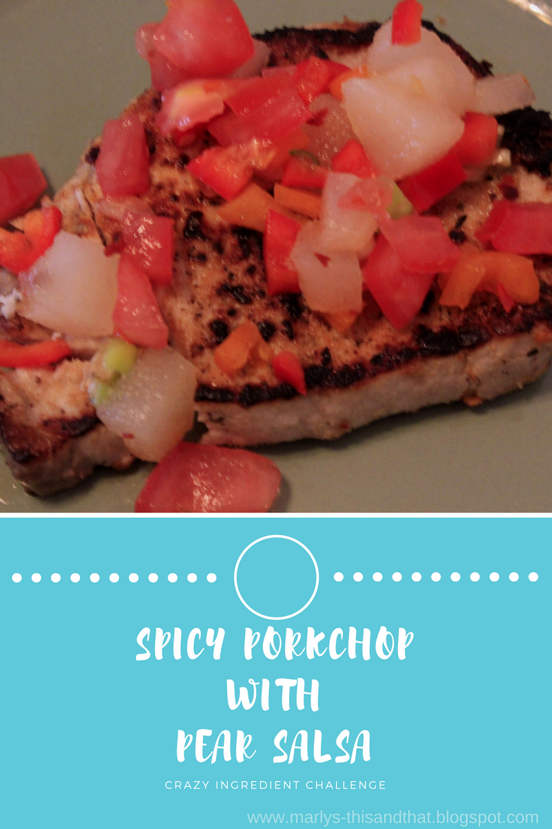 A spicy porkchop served with a salsa made with the crazy ingredient challenge - red pepper flakes and pears.